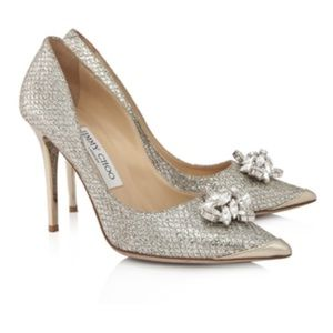 Jimmy Choo Sz 39 Dempsey Crystal Accent Pumps